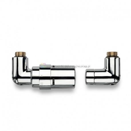 Zestaw termostatyczny trójosiowy z głowicą - chrom
